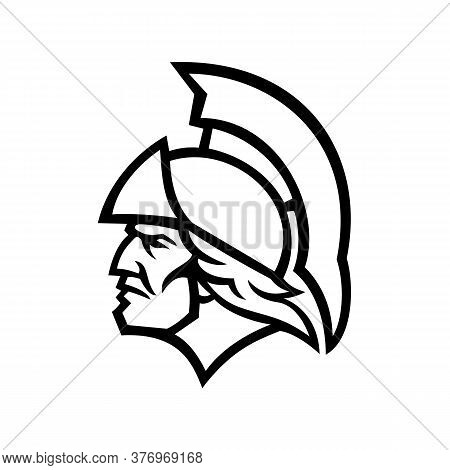 Mascot Icon Illustration Of Head Of Achilles Or Achilleus, A Greek Hero Of The Trojan War In Greek M