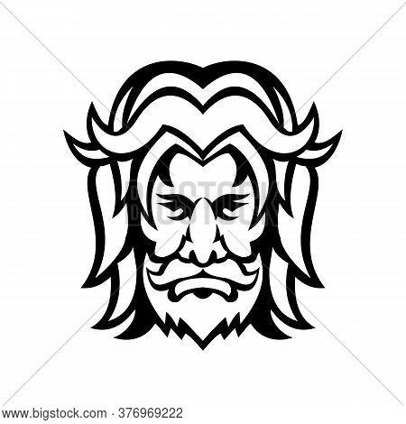 Mascot Icon Black And White Illustration Of Head Of Baldr, Balder Or Baldur, A God In Norse Mytholog