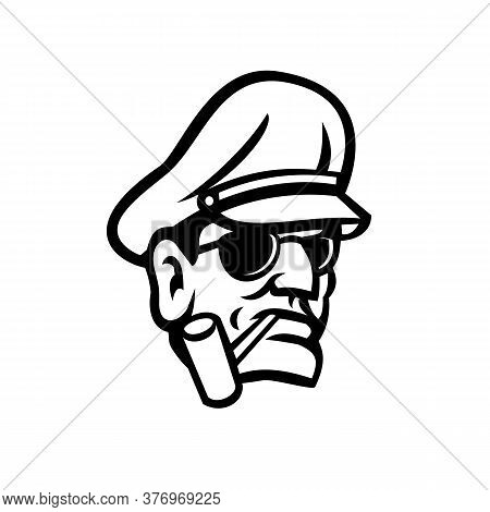 Mascot Icon Illustration Of Bust Of A Military Army General Smoking A Pipe Viewed From Front On Isol