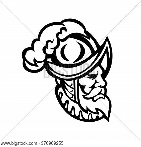 Mascot Icon Illustration Of Head Of A Spanish Conquistador Wearing A Morion, Type Of Open Helmet Hat