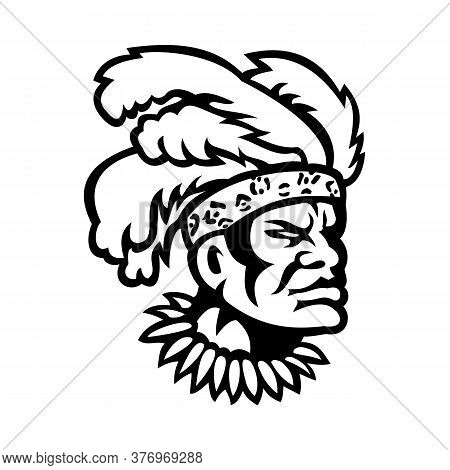 Mascot Icon Illustration Of Head Of An African Zulu Warrior Wearing Feather Headdress Viewed From Si