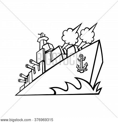 Mascot Icon Illustration Of An American Destroyer, Warship Or Battleship With Cannons Firing Viewed
