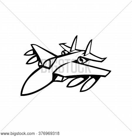 Mascot Icon Illustration Of Head Of An American Fighter Jet In Full Flight Viewed From Front On Isol