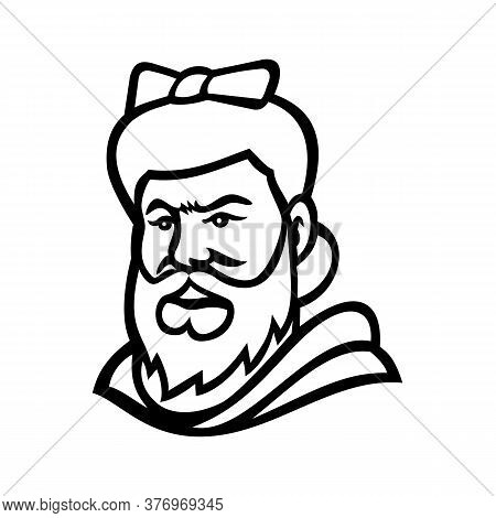 Mascot Icon Illustration Of Head Of A Bearded Lady Or Bearded Woman,  A Woman With A Visible Beard T