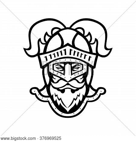 Black And White Mascot Illustration Of Head Of A  Viewed From Knight Wearing A Helmet With Ostrich P