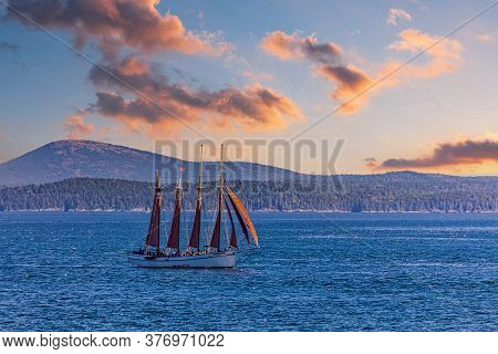 A Four-masted Schooner Sailing Across The Harbor Near Bar Harbor, Maine