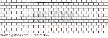 Panorama Of White Brick Wall Texture And Seamless Background. Brickwork Or Stonework Flooring Interi