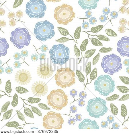 Vector Flowers In Yellow Blue Purple Orange With Green Leaves On White Background Seamless Repeat Pa
