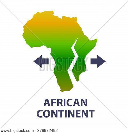 The African Continent Is Very Slowly Stratifying. A New Ocean Is Emerging. Flat Vector Illustration