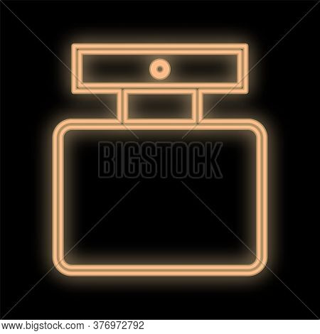 Bright, Orange, Neon Perfume Bottle On A Black Background. Perfume With A Dispenser For Spraying On