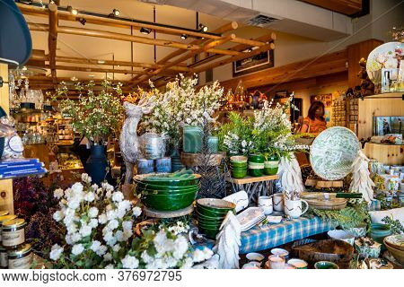 Grand Teton National Park, Wyoming - June 26, 2020: Beautiful Display Of Locally Made Pottery And Ho