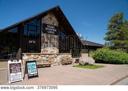 Grand Teton National Park, Wyoming - June 26, 2020: The Signal Mountain Lodge Is Open For Gift Shopp