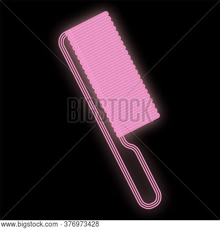 Bright Pink Neon Comb On A Black Background. Tool For Creating Fashionable Hairstyles And Hairstyles