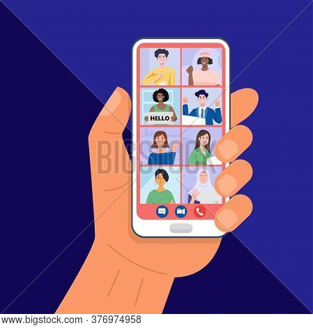 Hand Holding Smartphone Having Video Conferencing With Friends. Vector
