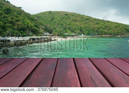 Wooden Floor And Seaside Background. Seaside With Wood Floor. Beauty Natural Background, Empty Woode