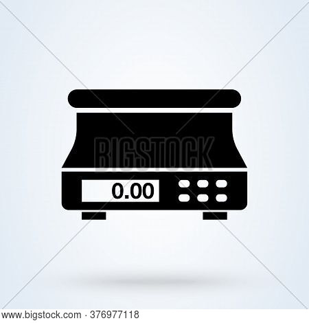 Digital Weighing Scale. Vector Simple Modern Icon Design Illustration.