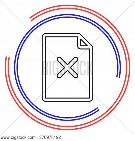 Remove Document Icon - Vector Document Illustration With Remove Mark. Thin Line Pictogram - Outline