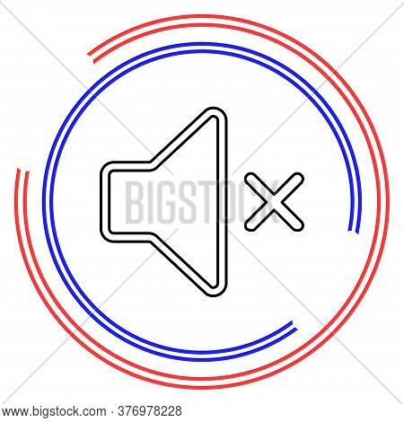 Silence And Mute Icon, Sound Volume Button. Thin Line Pictogram - Outline Editable Stroke