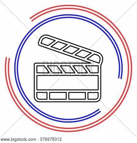 Film Slate - Vector Clip Play Button Icon - Movie Media Symbol - Start Watch Or Play Video. Thin Lin
