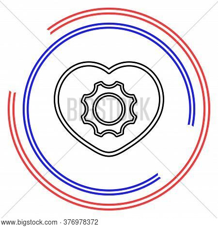 Cog And Gears On A Heart Shaped, Vector Cardiology Gear Icon. Thin Line Pictogram - Outline Editable