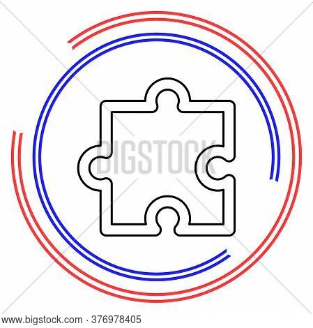 Puzzle Piece Icon, Vector Puzzle Symbol - Puzzle Illustration, Jigsaw Element Shape Isolated. Thin L