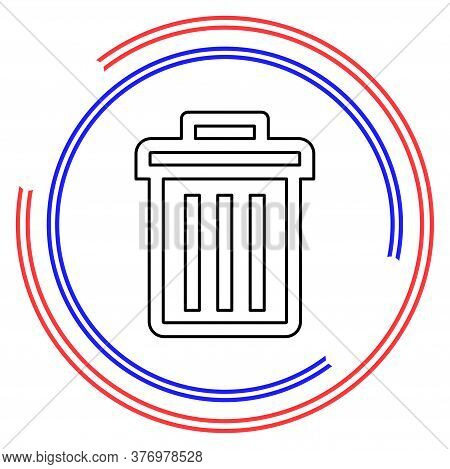 Trashcan Icon, Vector Trash Bin - Basket Illustration - Garbage Basket Symbol, Recycle Bin Illustrat