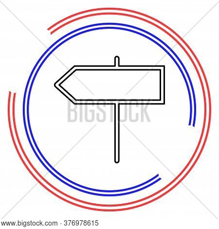 Vector Directions Sign - Street Road Directional Symbol Isolated, Information Icon. Thin Line Pictog