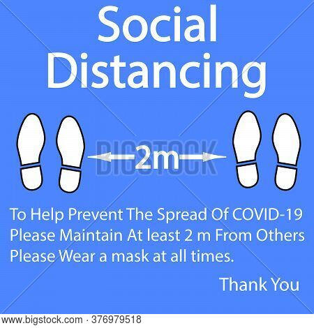 Foot Symbol Marking To Help Prevent The Spread Of Covid19 Please Maintain At Least 2 M From Others,