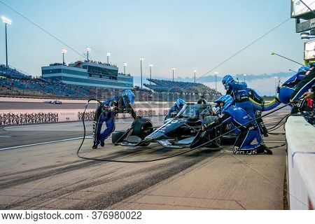 July 17, 2020 - Newton, Iowa, USA: FELIX ROSENQVIST (10) of Värnamo, Sweden  brings his car in for service during the Iowa INDYCAR 250s at Iowa Speedway in Newton Iowa.