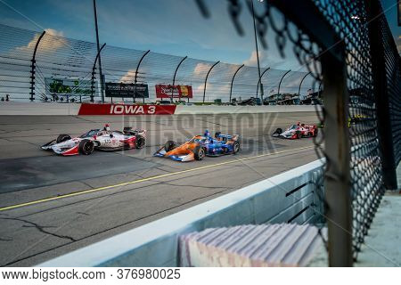 July 17, 2020 - Newton, Iowa, USA: MARCO Andretti (98) of the United States races through the turns during the  race for the Iowa INDYCAR 250s at Iowa Speedway in Newton, Iowa.