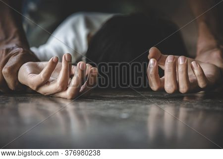 Despair Rape Victim Waiting For Help, Stop Sexual Harassment And Violence Against Women, Rape And Se