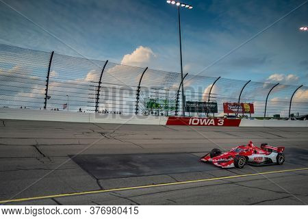 July 17, 2020 - Newton, Iowa, USA: MARCUS ERICSSON (8) of Kumla, Sweden  races through the turns during the  race for the Iowa INDYCAR 250s at Iowa Speedway in Newton, Iowa.