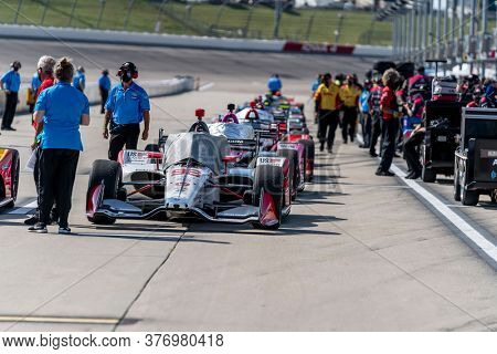 July 17, 2020 - Newton, Iowa, USA: MARCO Andretti (98) of the United States  qualifies for the Iowa INDYCAR 250s at Iowa Speedway in Newton, Iowa.