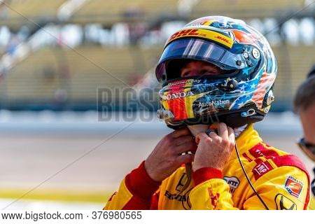July 17, 2020 - Newton, Iowa, USA: RYAN HUNTER-REAY (28) of the United States  qualifies for the Iowa INDYCAR 250s at Iowa Speedway in Newton, Iowa.