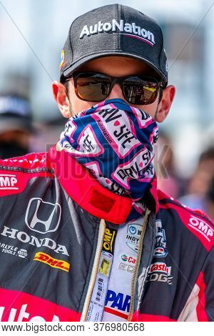 July 17, 2020 - Newton, Iowa, USA: ALEXANDER ROSSI (98) of the United States  qualifies for the Iowa INDYCAR 250s at Iowa Speedway in Newton, Iowa.