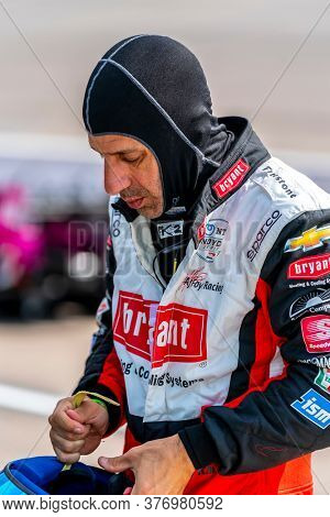 July 17, 2020 - Newton, Iowa, USA: TONY KANAAN (14) of Salvador, Brazil  qualifies for the Iowa INDYCAR 250s at Iowa Speedway in Newton, Iowa.