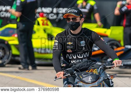 July 17, 2020 - Newton, Iowa, USA: PATO OWARD (5) of Monterey, Mexico qualifies for the Iowa INDYCAR 250s at Iowa Speedway in Newton, Iowa.