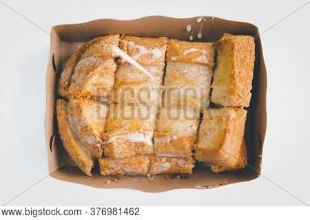 Bread Toast With Butter And Sweet Condensed Milk For Sale At Thai Street Food Market Or Restaurant I