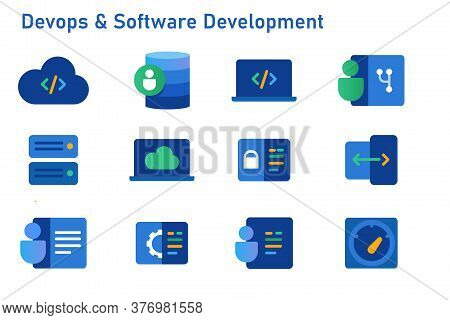 Devops Software Development Icon Set Coding Programming Cloud Computing Server Repository