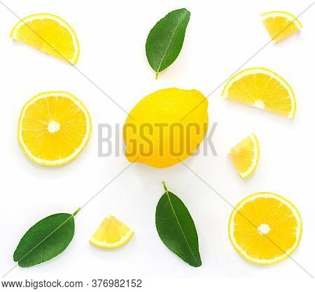 Lemon Isolated On White Background With Copy Space.lemon Sliced With. Leaves