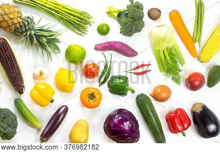 Fresh Vegetables And Fruits Isolated On White Background,colorful Fruits And Vegetables,clean Eating