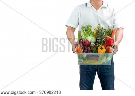 Men's Vegetable Delivery Staff Isolated On White Background With Copy Space,vegetable Box.