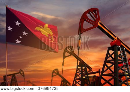 Papua New Guinea Oil Industry Concept, Industrial Illustration. Papua New Guinea Flag And Oil Wells