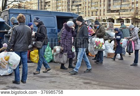 Russia, St. Petersburg, 05,12,2015 Activists' Action On Separate Garbage Collection In St. Petersbur