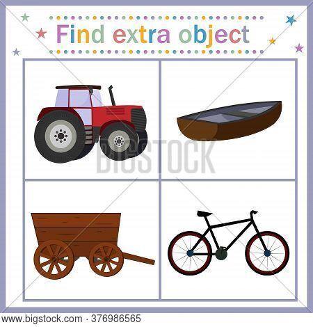 Map For Children's Development, Find An Extra Object Where All Objects With Wheels Except The Boat,