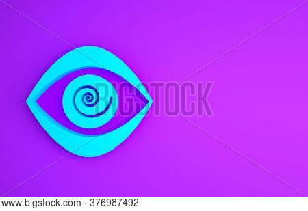 Blue Hypnosis Icon Isolated On Purple Background. Human Eye With Spiral Hypnotic Iris. Minimalism Co