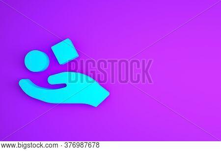 Blue Cube Levitating Above Hand Icon Isolated On Purple Background. Levitation Symbol. Minimalism Co