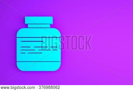 Blue Medicine Bottle And Pills Icon Isolated On Purple Background. Medical Drug Package For Tablet,
