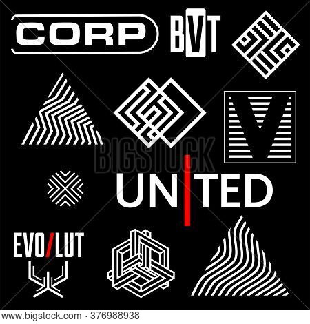 Cyberpunk Elements. Sign And Text In Cyberpunk Style For Cloth And Interface. Symbols And Logo With