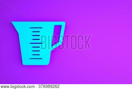 Blue Measuring Cup To Measure Dry And Liquid Food Icon Isolated On Purple Background. Plastic Gradua